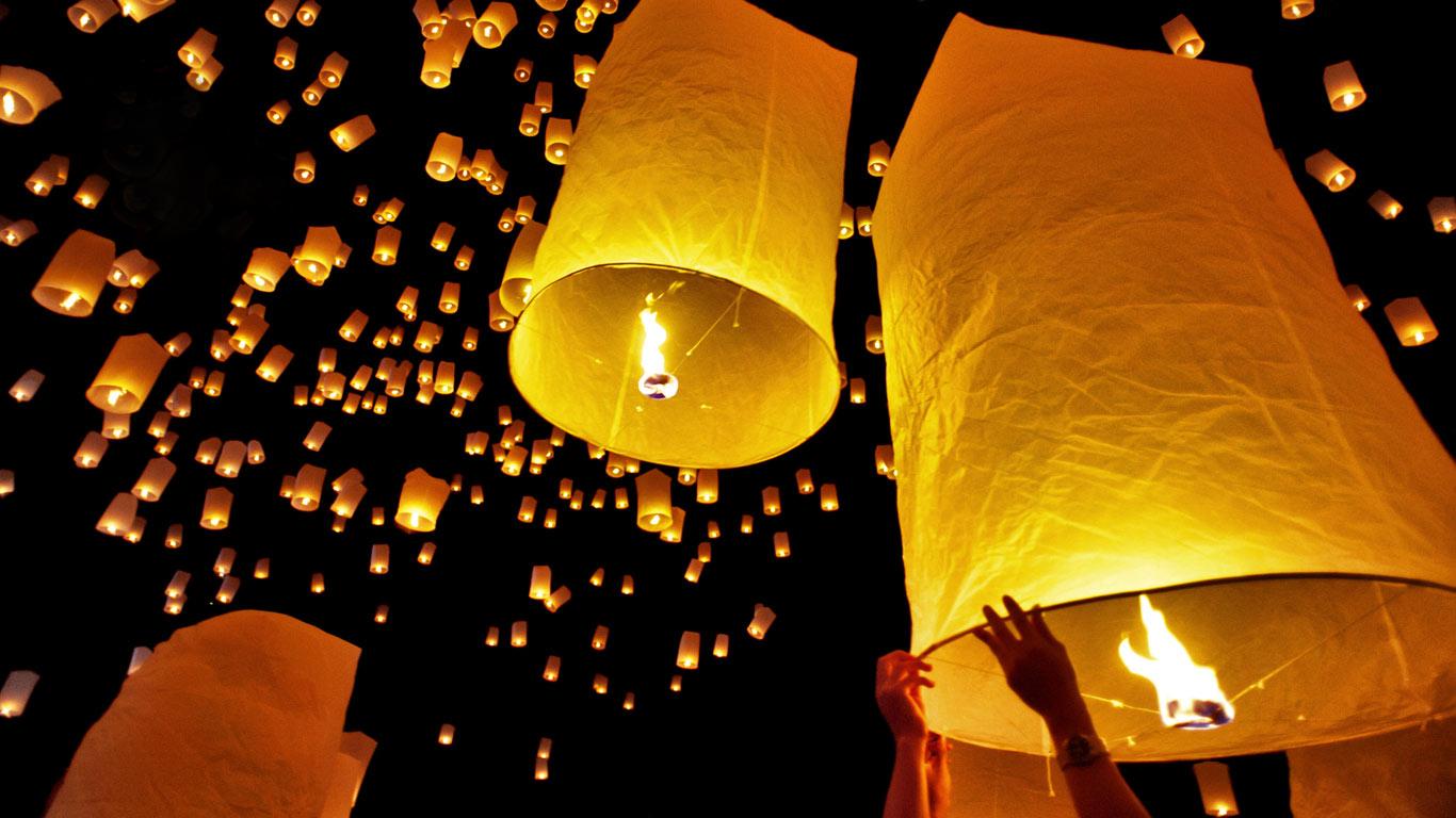 Ảnh nền Bing và những chiếc đèn trời