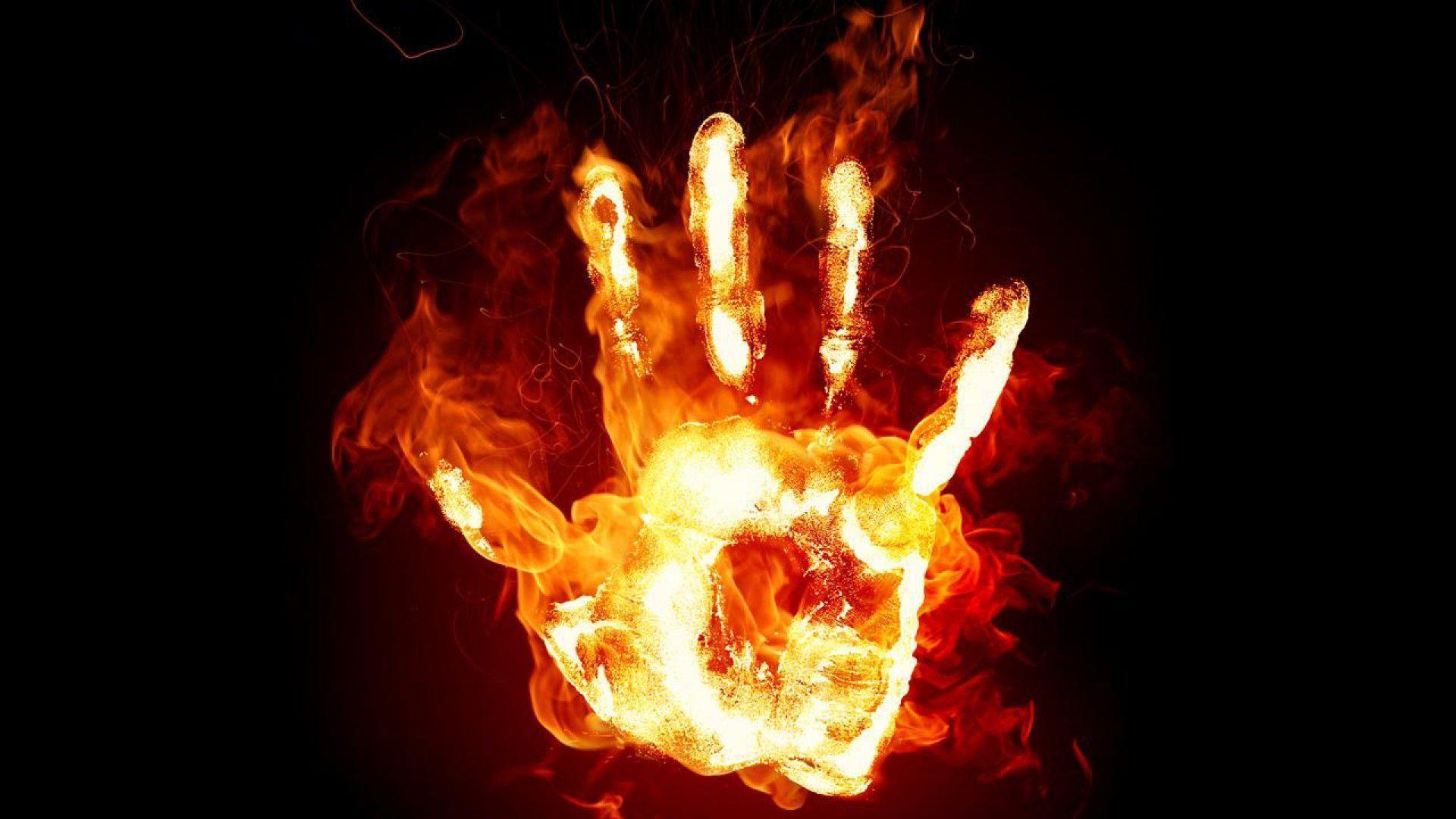 Hình nền bàn tay lửa cực đẹp