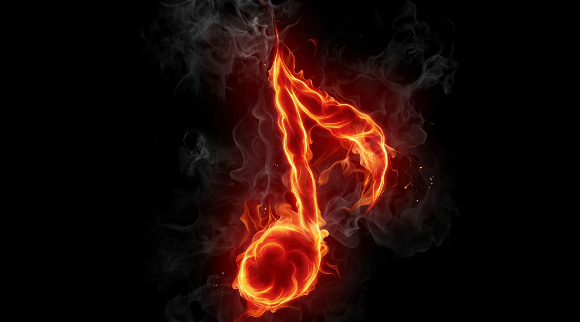 Hình nền nốt nhạc lửa cực đẹp