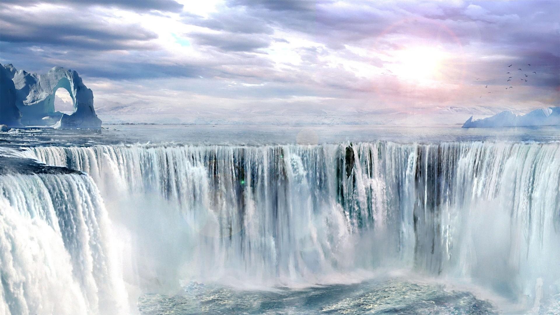 Hình nền thác nước chảy cực đẹp