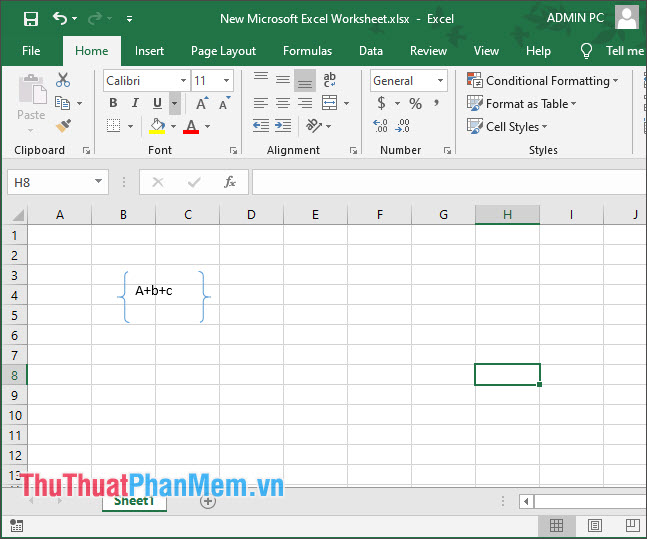 Kết quả tương tự với Excel