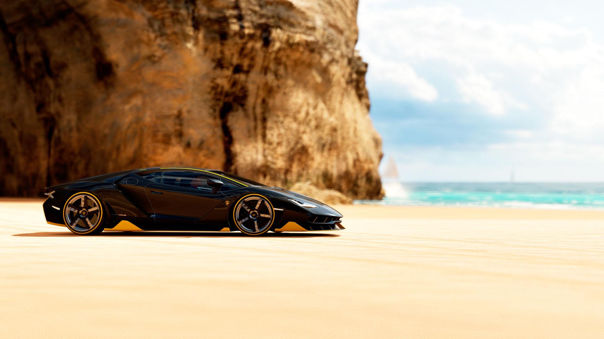 Hình nền siêu xe lamborghini ở bãi biển
