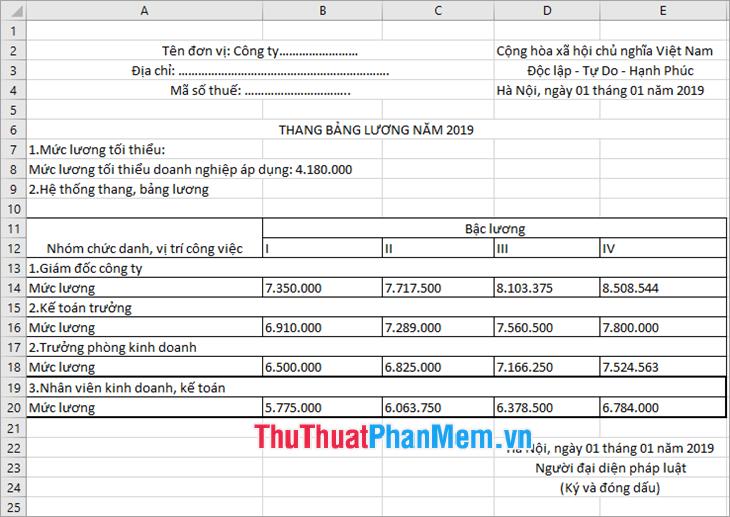 Mẫu hệ thống thang bảng lương file Excel của Doanh nghiệp
