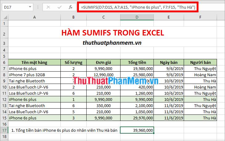 Tổng tiền bán iPhone 6s plus do nhân viên Thu Hà bán