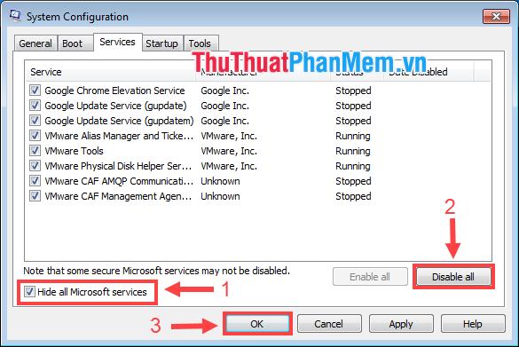 Đánh dấu ô Hide all Microsoft services