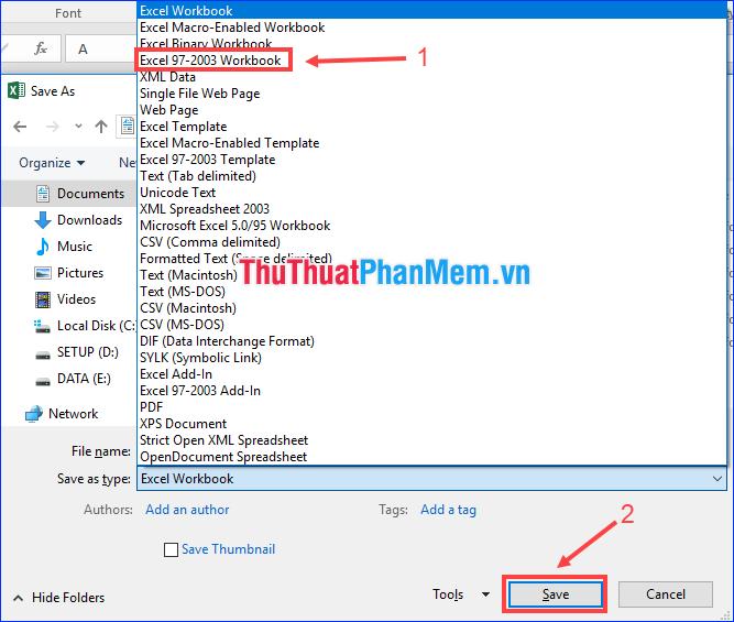 Cách đổi đuôi file XLSX sang XLS để mở trên Excel 2003