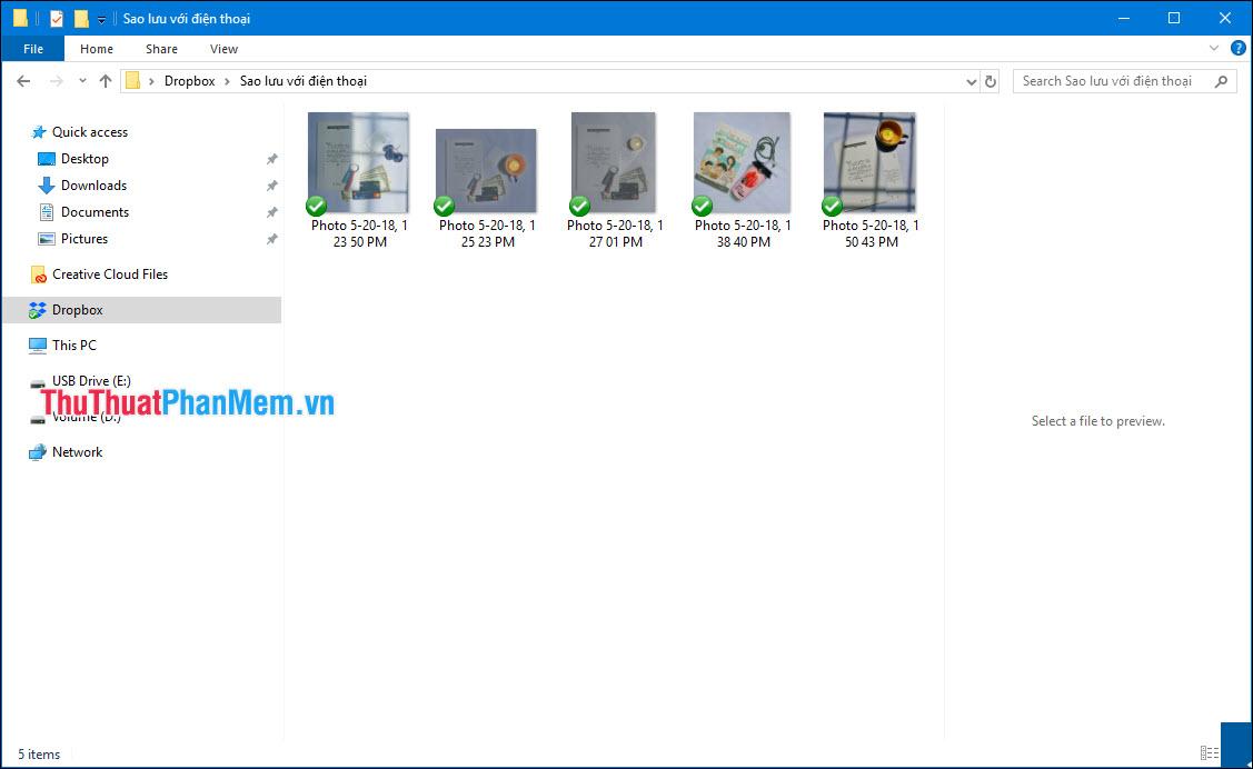 Bạn có thể mở thư mục trên Dropbox máy tính để xem dữ liệu đã sao lưu