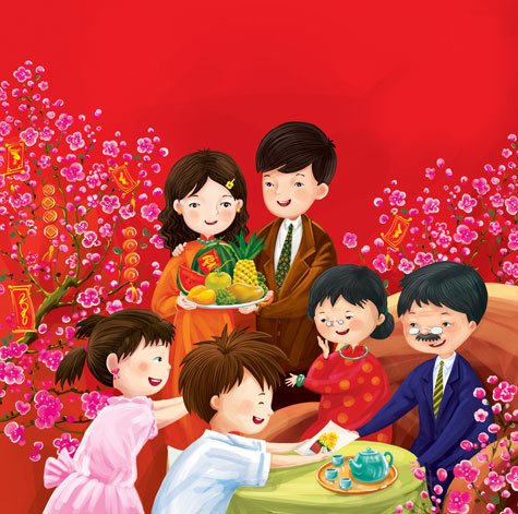 Bức tranh vẽ về gia đình hạnh phúc đầm ấm
