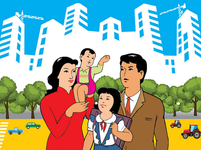 Bức tranh vẽ về gia đình