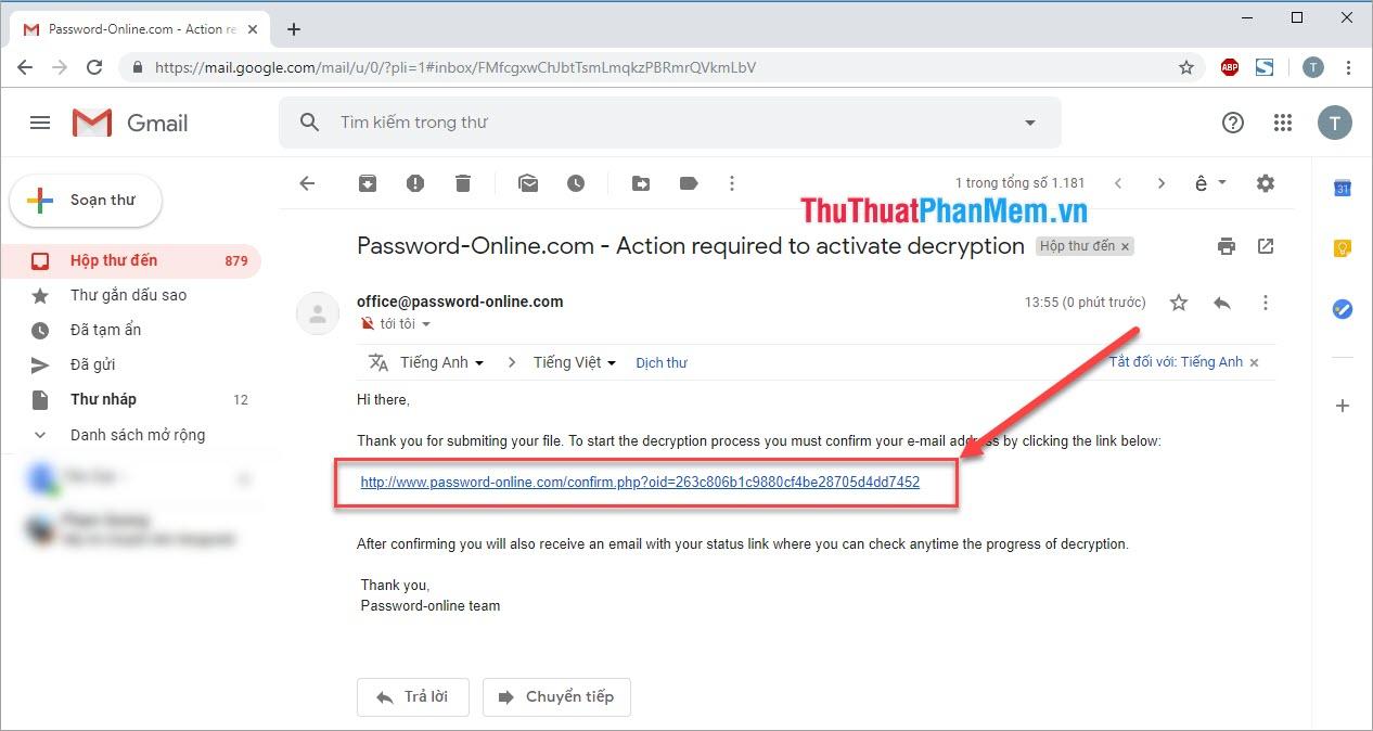 Click vào link mà web gửi về trong Mail của bạn