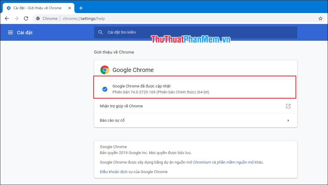 Google Chrome đã được cập nhật