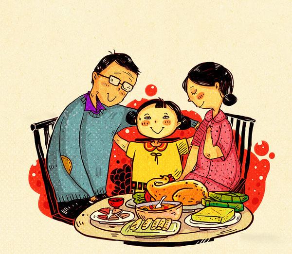 Hình vẽ gia đình sum họp