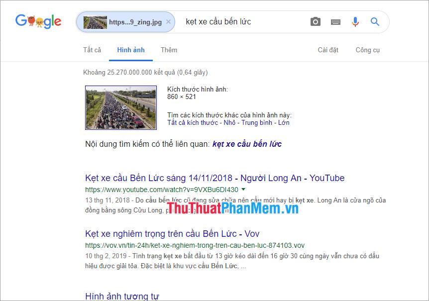 Kết quả trả về của Google