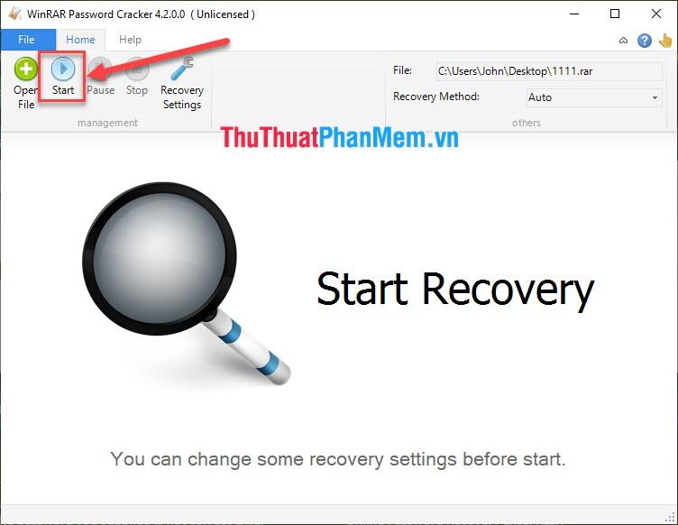 Nhấn Start để bắt đầu tìm kiếm lại mật khẩu
