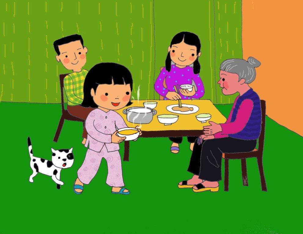 Những bức tranh vẽ gia đình ngày tết