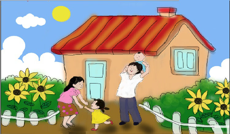 Những bức vẽ đề tài gia đình