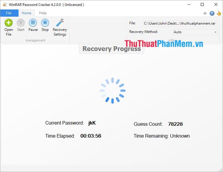 Phần mềm sẽ bắt đầu tìm kiếm lại mật khẩu