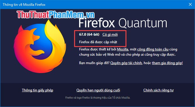 Thông tin về Mozilla Firefox