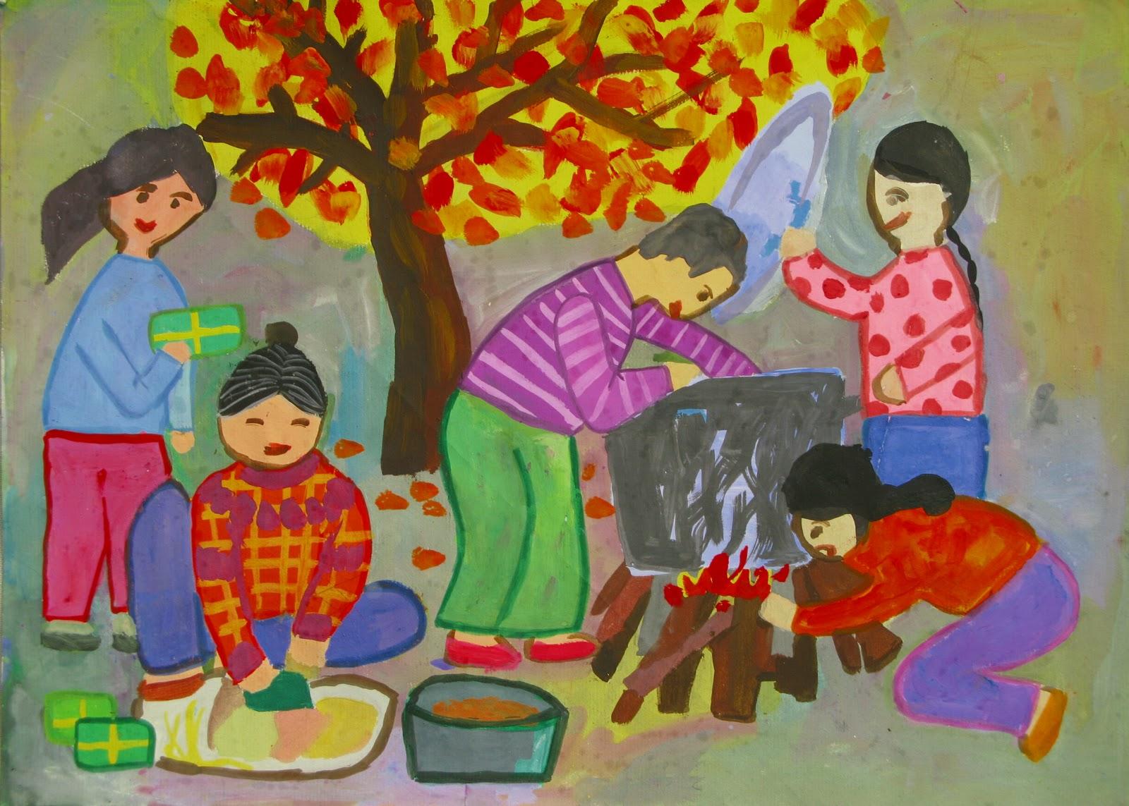 Tranh sơn dầu vẽ gia đình