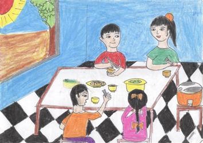 Tranh vẽ bữa cơm gia đình