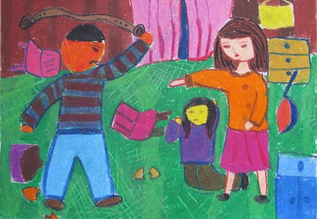Tranh vẽ đề tài bạo lực gia đình