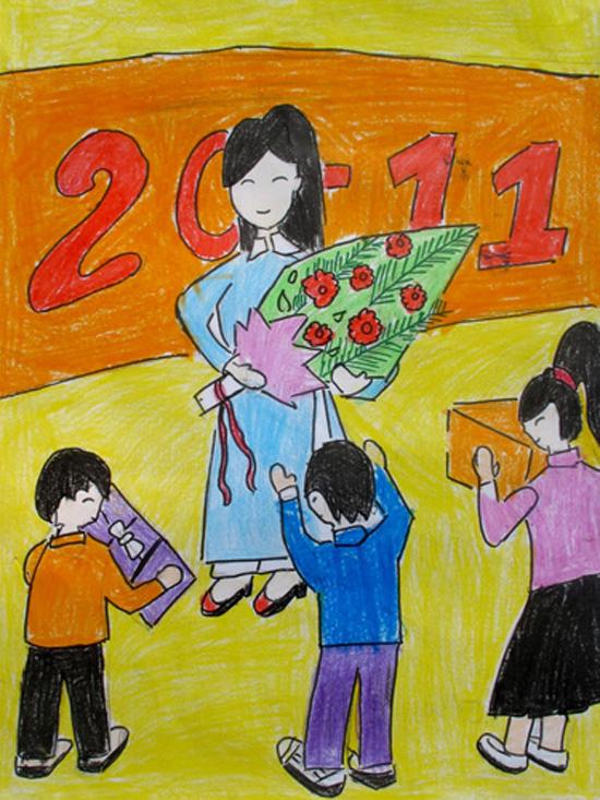 Tranh vẽ đề tài ngày nhà giáo Việt Nam