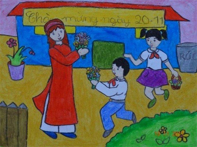 Tranh vẽ đề tài nhà Giáo Việt Nam lớp 8