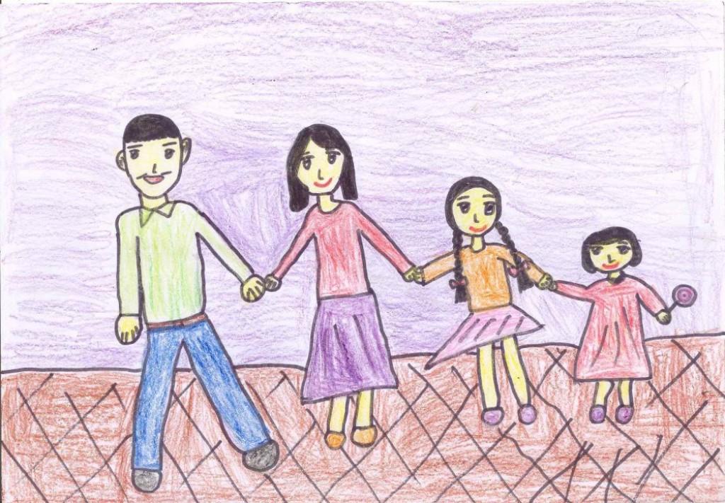 Tranh vẽ gia đình của học sinh