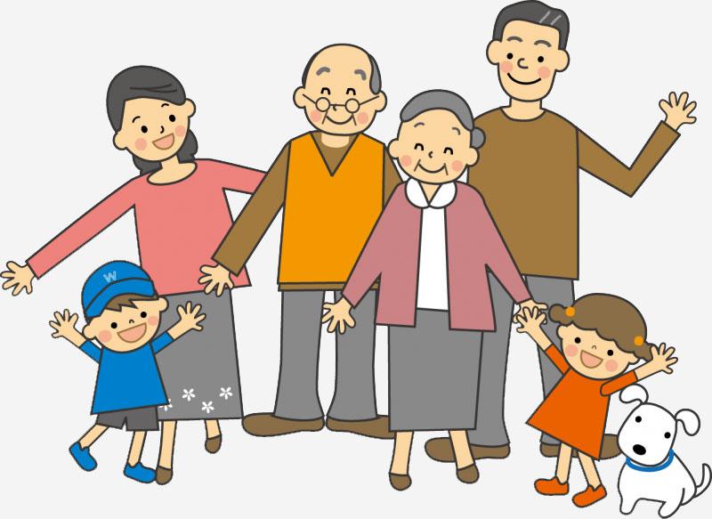 Tranh vẽ gia đình cùng với ông bà