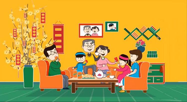Tranh vẽ gia đình ngày lễ tết