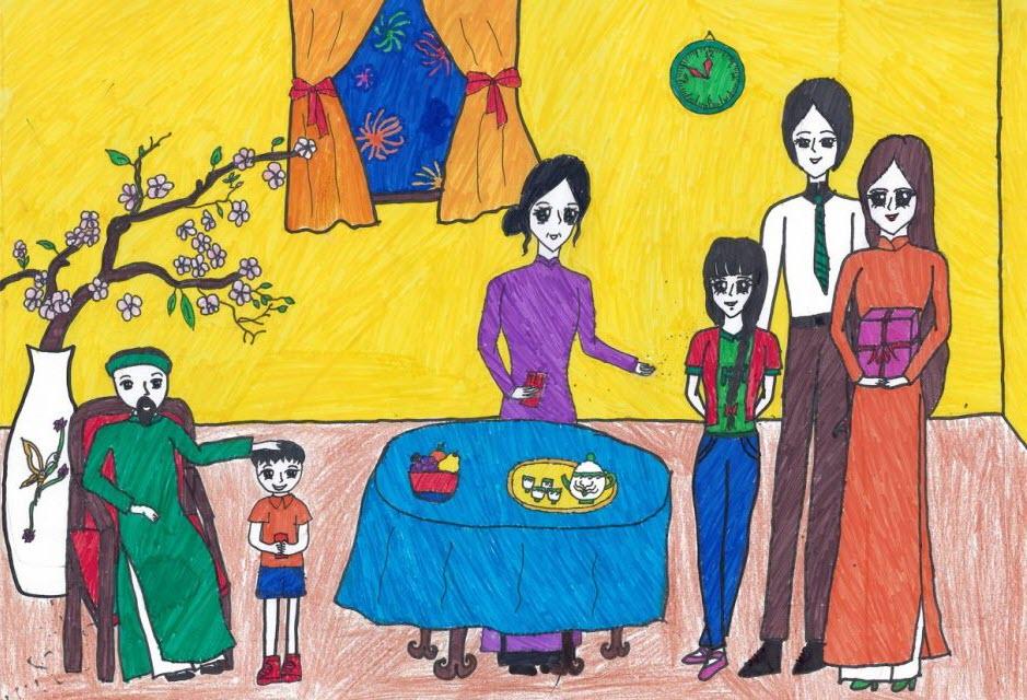 Tranh vẽ gia đình ngày tết