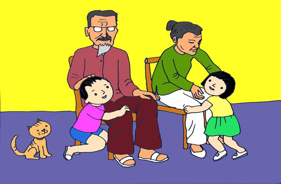 Tranh vẽ gia đình ông bà và các cháu