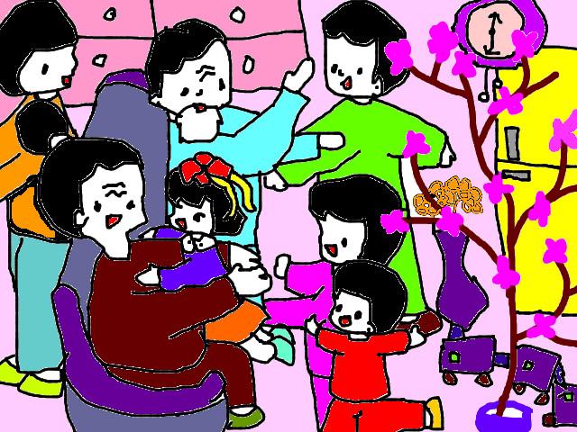 Tranh vẽ gia đình với giấy dán