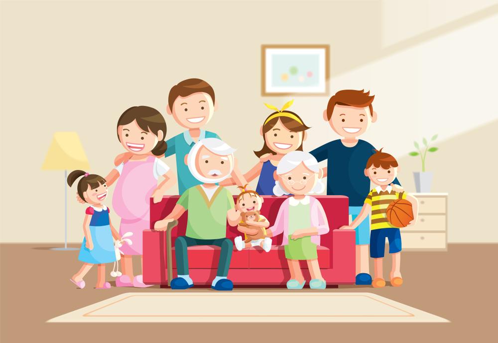 tranh vẽ gia đình