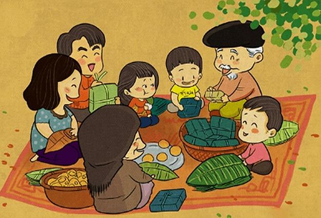 Tranh vẽ hoạt động gia đình ngày tết