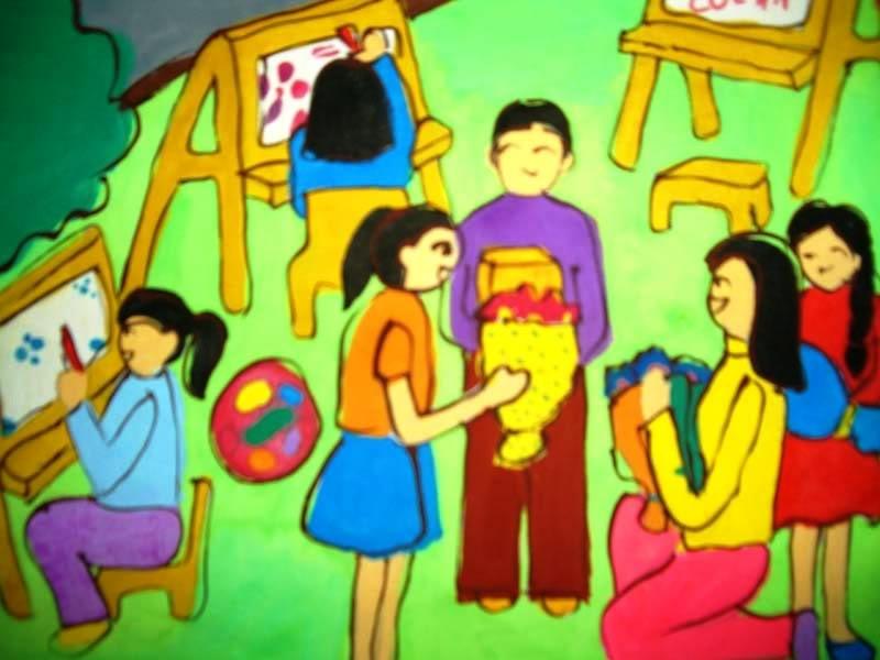 Tranh vẽ ngày nhà giáo Việt Nam 20-11 đẹp nhất