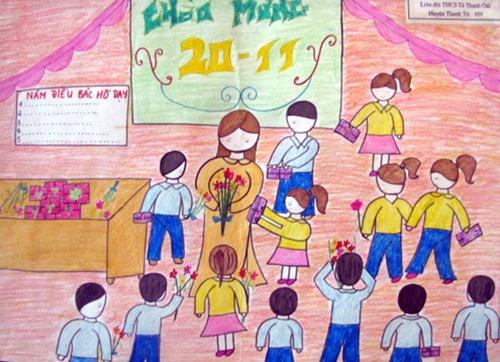 Tranh vẽ ngày nhà giáo Việt Nam 20-11 đơn giản