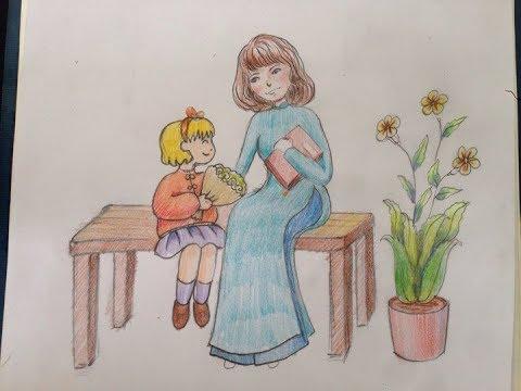 Tranh vẽ ngày nhà giáo Việt Nam đơn giản