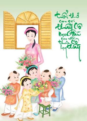 Tranh vẽ ngày nhà giáo Việt Nam lớp 8