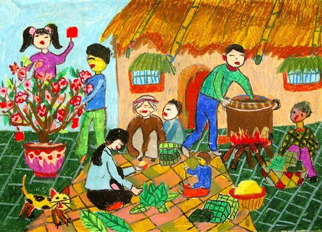 Tranh vẽ sinh hoạt gia đình ngày tết
