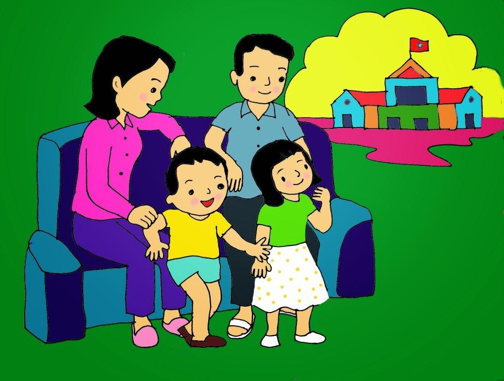 Tranh vẽ về gia đình hạnh phúc