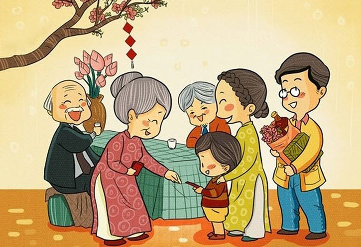 Tranh vẽ về gia đình ngày tết