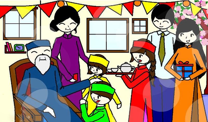 Tranh vẽ về gia đình sum vầy