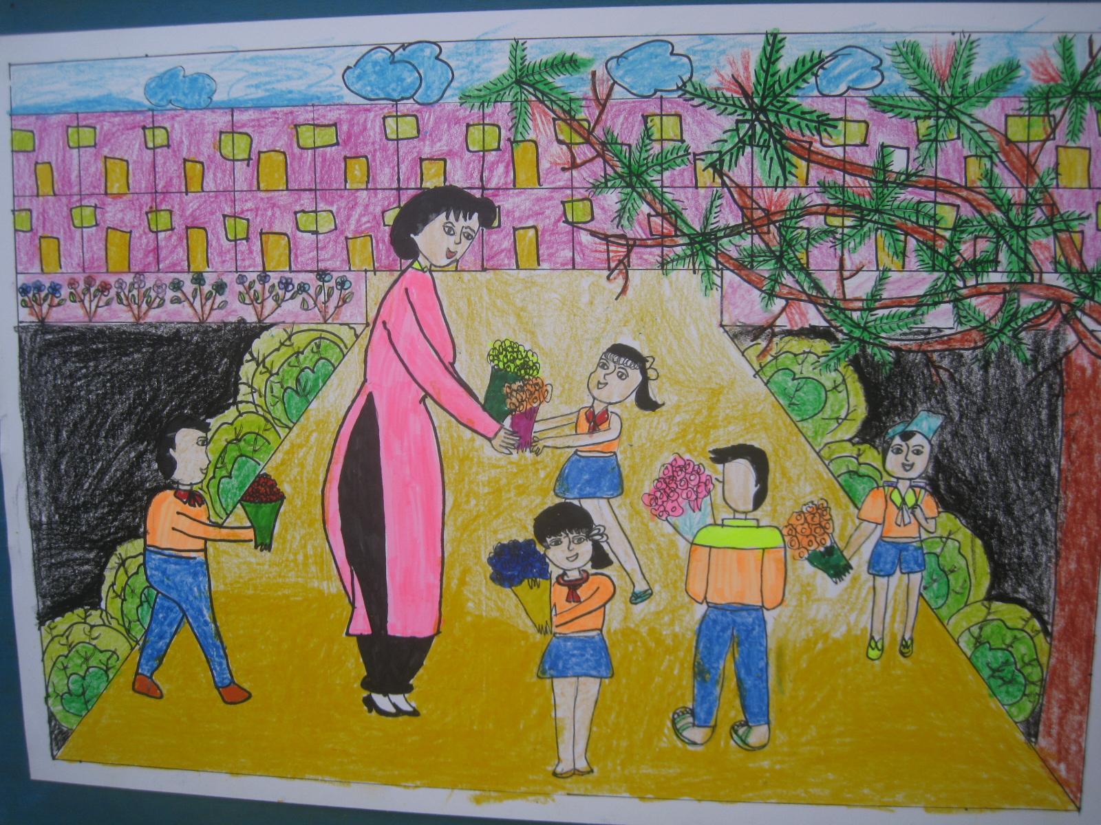 Vẽ tranh đề tài ngày nhà giáo Việt Nam đẹp