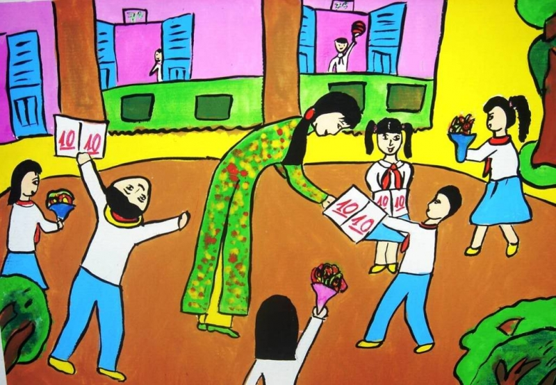 Vẽ tranh đề tài nhà giáo Việt Nam