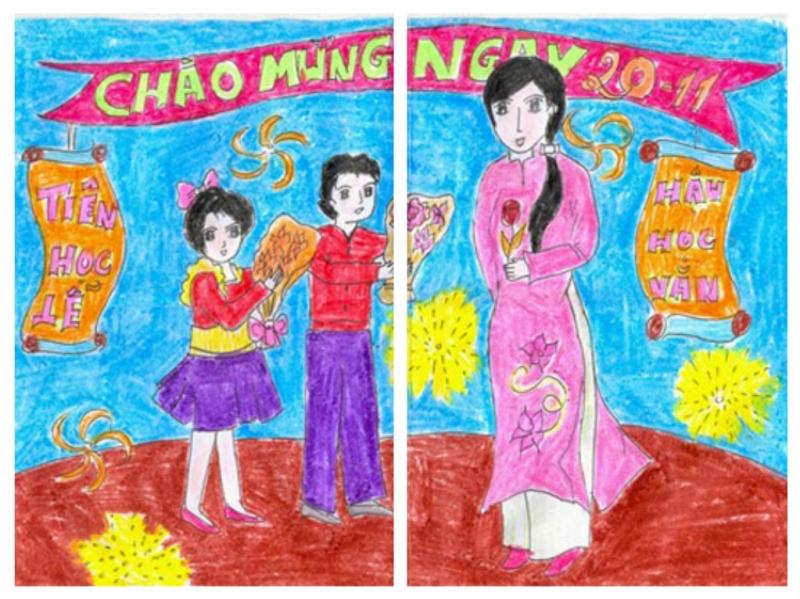Vẽ tranh đề tài nhà giáo VN 20-11
