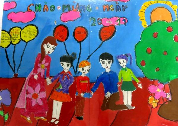 Vẽ tranh ngày nhà giáo Việt Nam đơn giản