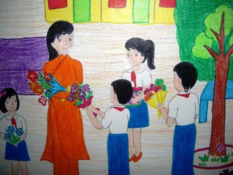 Vẽ tranh nhà giáo Việt Nam