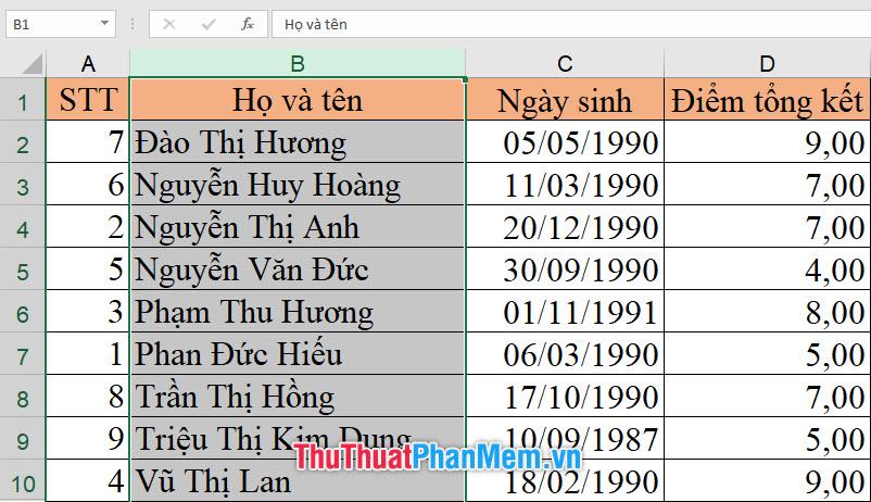 Kết quả nhận được bảng dữ liệu đã được sắp xếp theo ABC