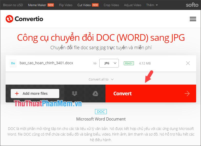 Bấm Convert để tiến hành chuyển đổi Word sang file ảnh